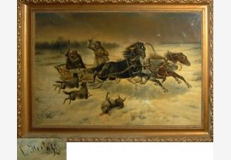 Нападение волков на коней